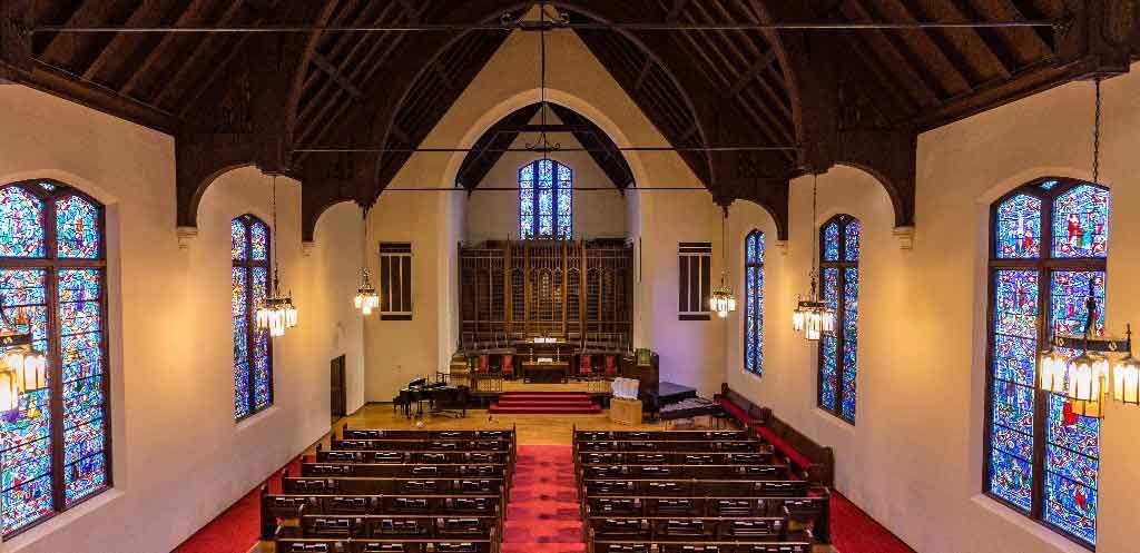 First Congregational church St Louis sanctuary provides a quiet serene place for worship