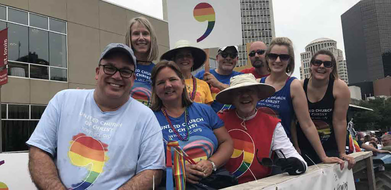 First Congregational Church members annually participating in the St. Louis Pride Parade every year